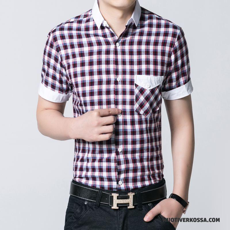 Koszula Krótki Rękaw Męskie Tendencja Koszula Z Krótkim Rękawem Lato Casual Krata Fioletowy