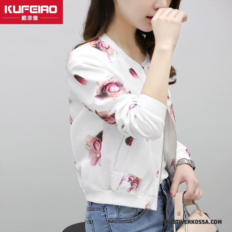 Kurtka Damskie Płaszcz Mały 2018 Kwiaty Topy Bluzy Z Kapturem Biały