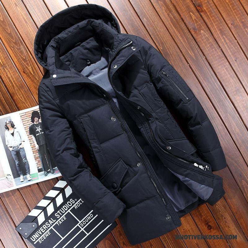 Kurtka Puchowa Męskie Płaszcz Długie Casual Duży Rozmiar Odzież Zimowa Dla Grubych Czarny