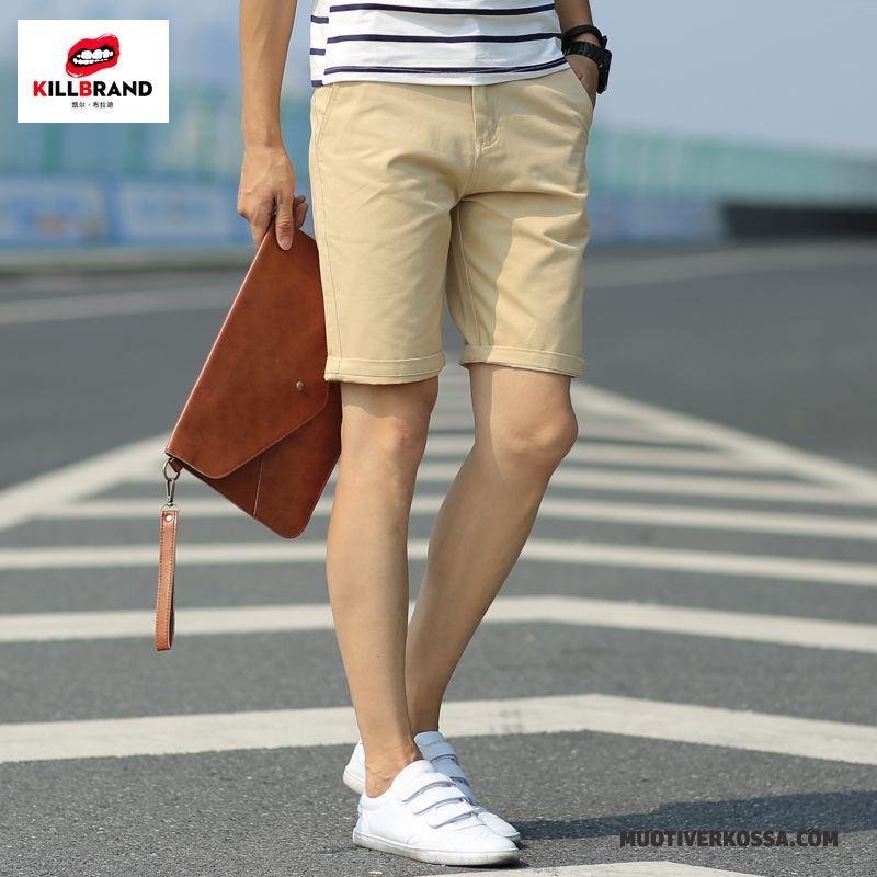 Spodenki Męskie Bawełna Młodzież Casual Szorty Lato Spodnie Bordeaux Biały