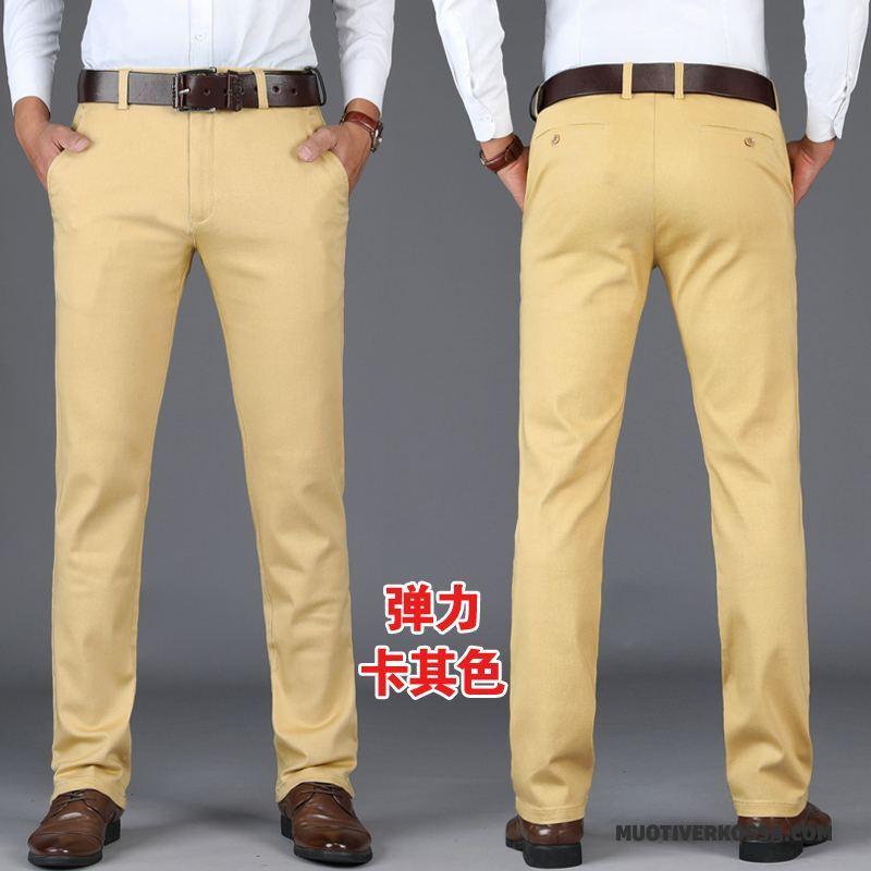Spodnie Męskie Proste Elastyczne Lato Casualowe Spodnie Cienkie Młodzież Czarny
