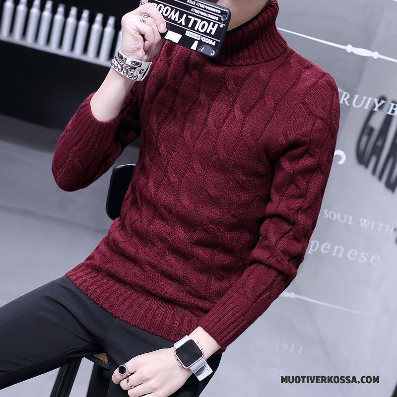 Sweter Męskie Pullover Osobowość Dla Grubych Długie Zima Tendencja Biały