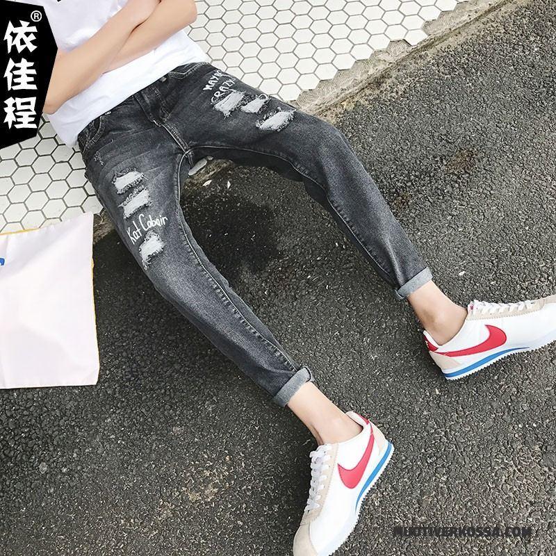 6360b6a3 Dżinsy Męskie Z Dziurami Slim Fit Elastyczne Tendencja Ołówkowe Spodnie  Wiosna