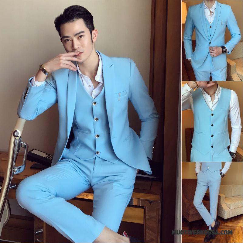 a388be27d17f7 Garnitur Męskie Pasować Blezer Biurowe Slim Fit Sukienka Ślubna Jasny  Niebieski Sprzedam