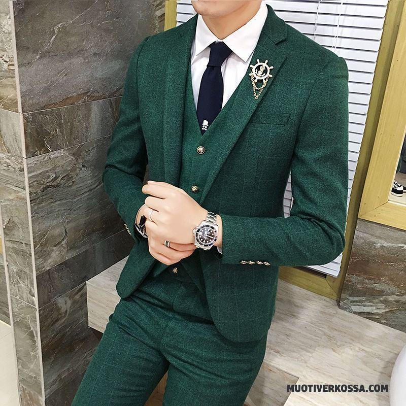 5cb5c4f7906c2 Garnitur Męskie Sukienka Blezer Slim Fit Krata Pasować Ślubna Zielony  Dyskont