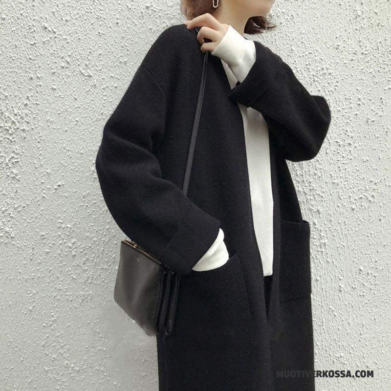 Kardigan Damskie Długie Płaszcz Sweter Dla Grubych Kaszmir Duże Czarny