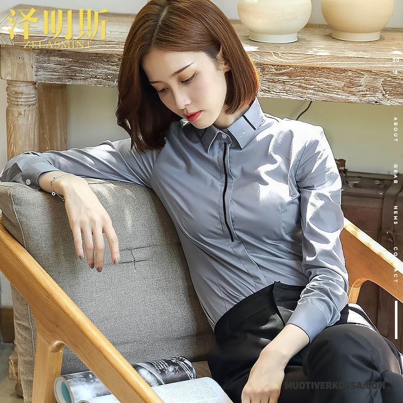 1464207ab1 Koszula Damskie Cargo Długi Rękaw Biurowe Sukienka 2018 Nowy Biały Szary