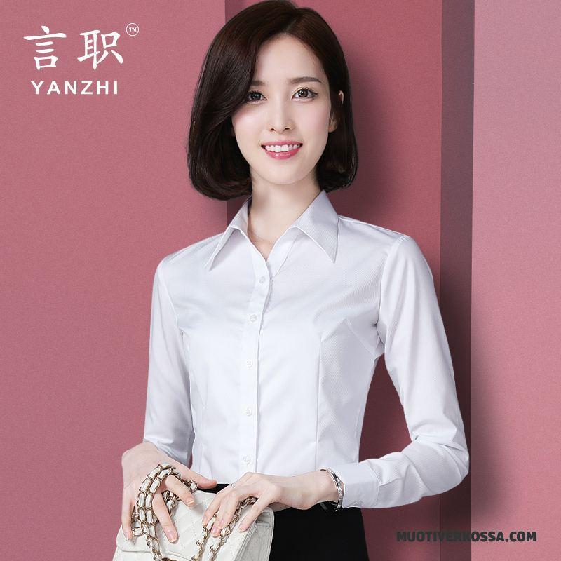 8d0ca6c8ff Koszula Damskie Casual Sukienka Topy Duży Rozmiar Długi Rękaw Biznes Biały