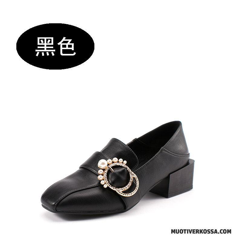 4d60f594 Mokasyny Damskie Perła Jesień Buty Vintage Loafers Kwadratowa Głowa Czarny