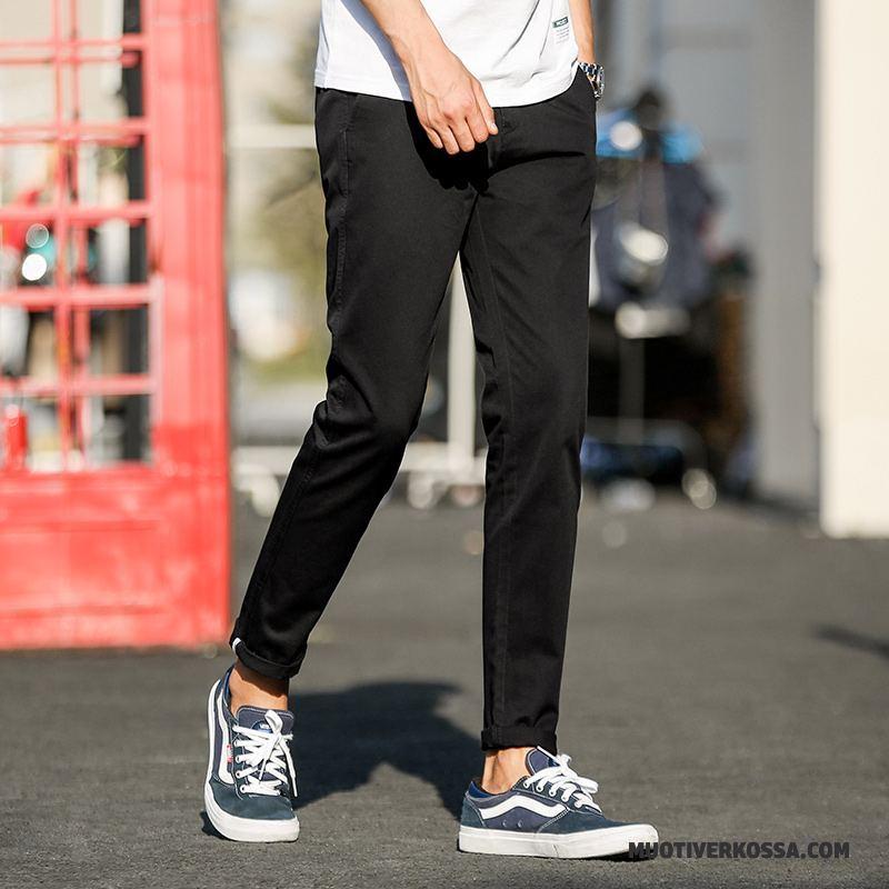Spodnie Męskie Casualowe Spodnie Wiosna Młodzież Slim Fit Proste Tendencja Czarny