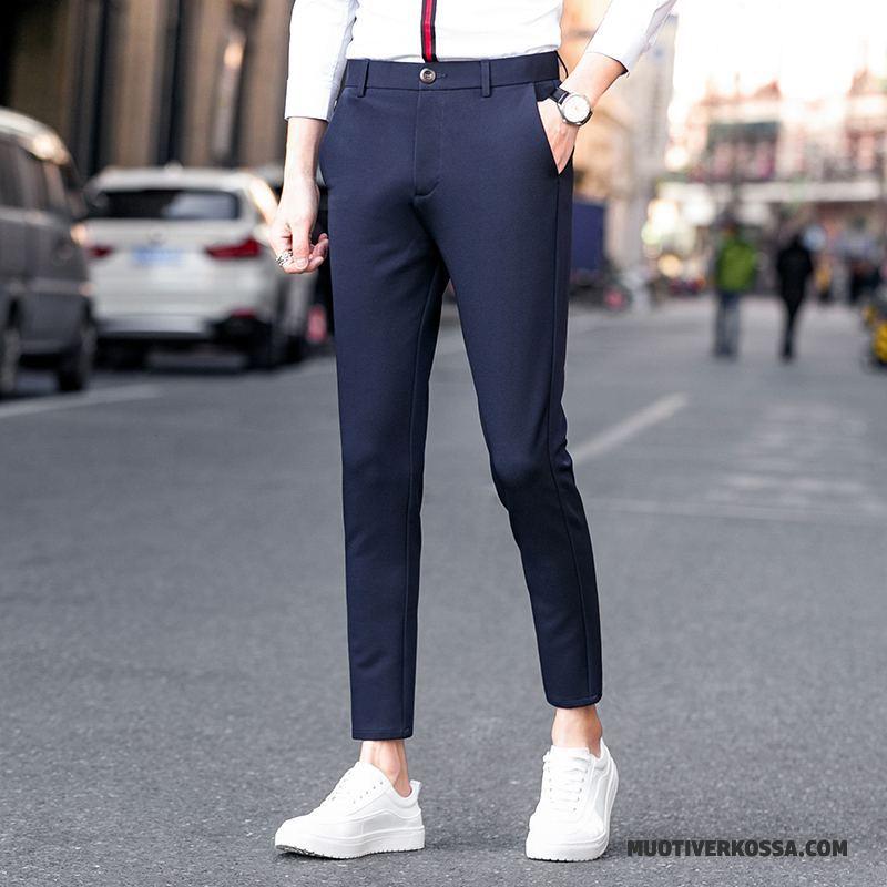Spodnie Męskie Slim Fit Casualowe Spodnie Cienkie Wiosna Ołówkowe Spodnie Tendencja Niebieski