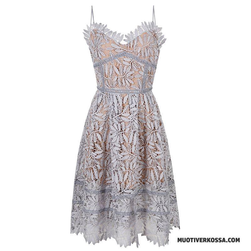 Sukienka Damskie Bez Pleców Plażowe 2018 Lato Koronkowe Nowy Szary