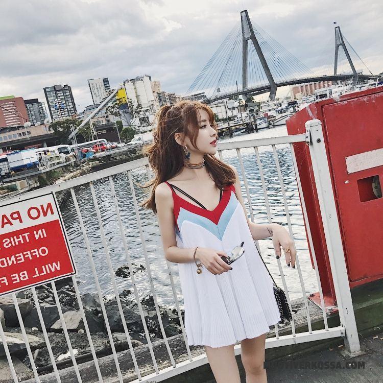 Sukienka Damskie Bez Rękawów Bez Pleców Plażowe Wakacje Nowy Lato Biały